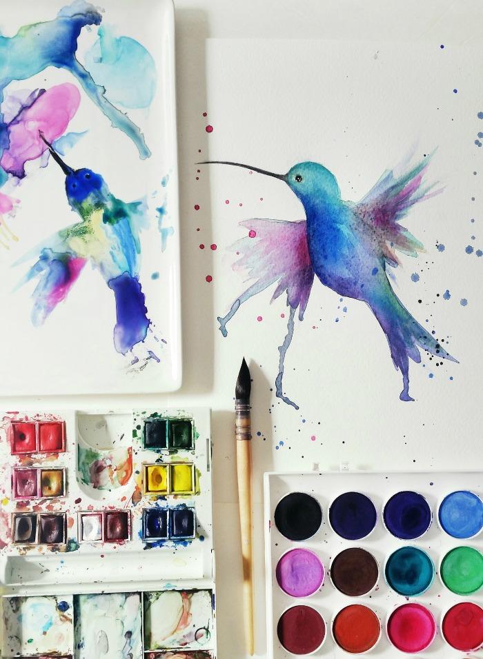 hummingbirdwatercolorcraftberrybush