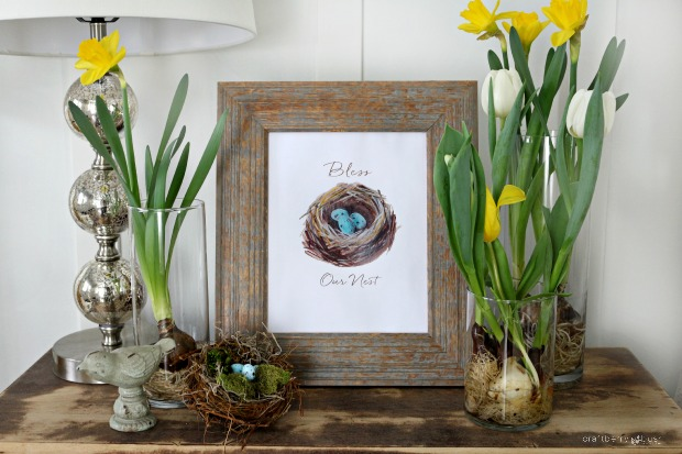 Free Easter nest watercolor printable
