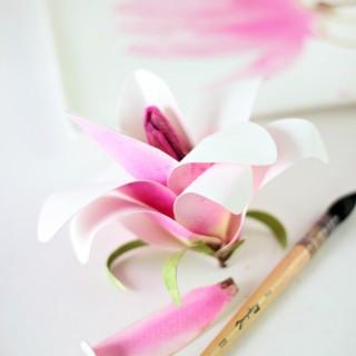 watercolorpapermagnoliadiycraftberrybush