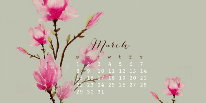 March Watercolor Free desktop Calendar