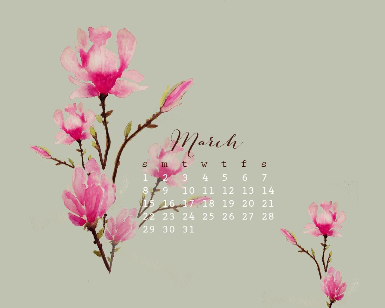March Watercolor Free desktop Calendar