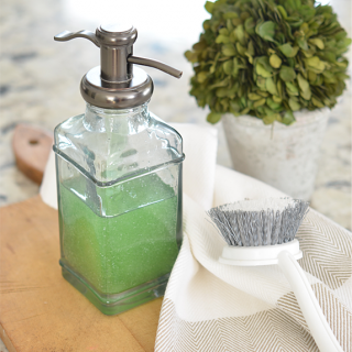 Simple Tip Use soap dispenser to decoratively store dish detergent