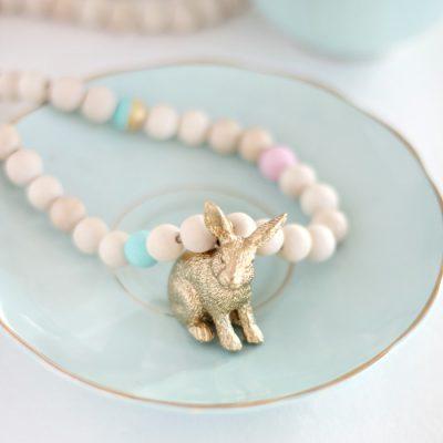 Easy beaded bunny necklace DIY