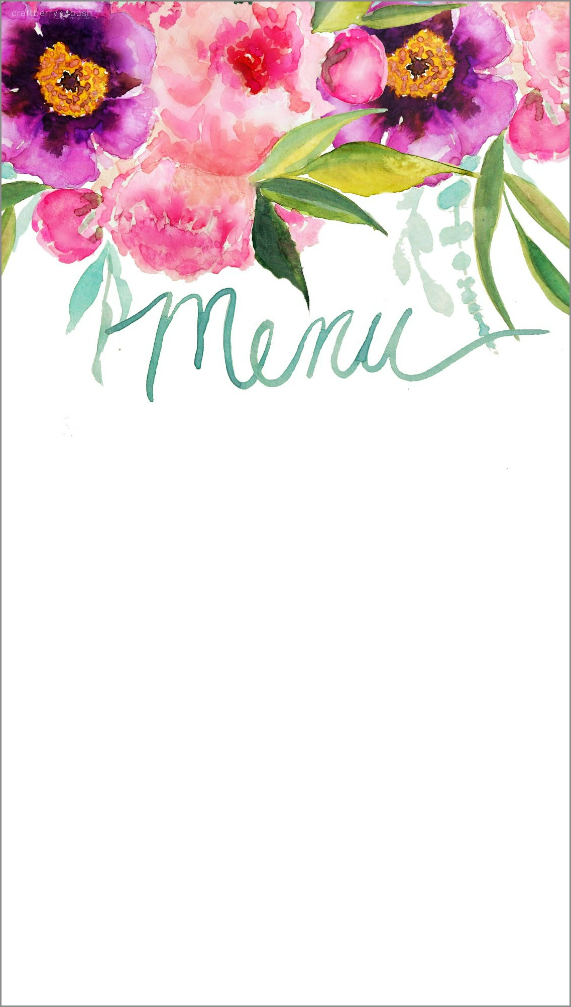Customizable watercolor printable menu menu using your favourite font menuwithborder mightylinksfo Choice Image
