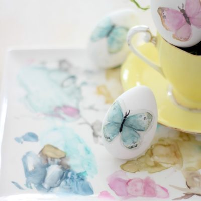 Watercolor butterflies Easter eggs and a little magic