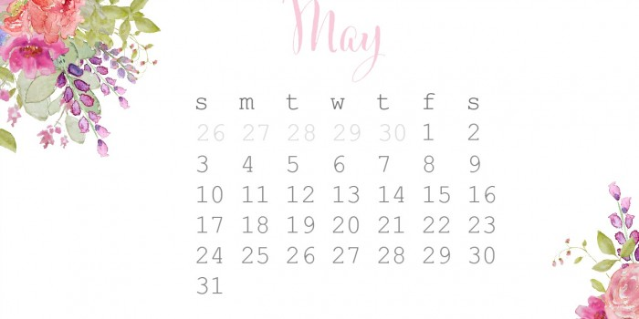 May Watercolor free desktop calendar