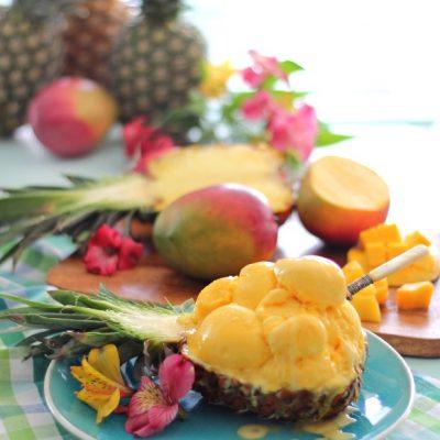 No ice cream machine Pineapple coconut mango ice cream
