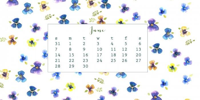 Free June Watercolor Calendar