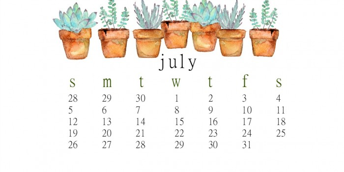 July  free desktop calendar