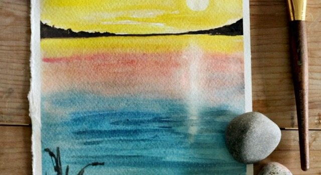 How to paint a sunset with watercolor