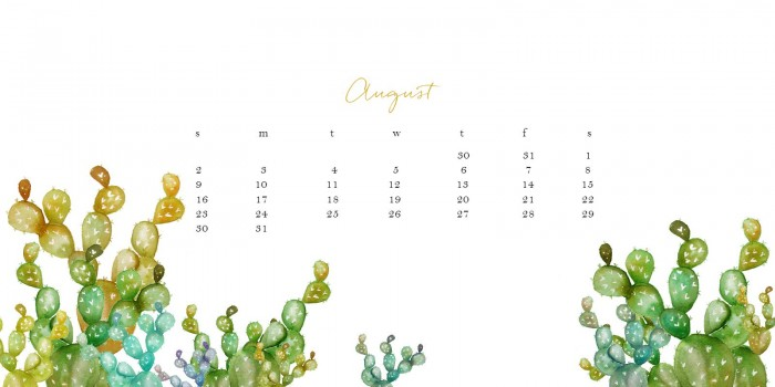 August free watercolor desktop calendar