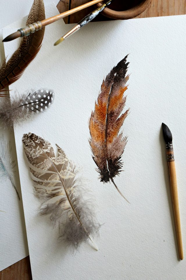 How to Paint a Watercolor Feather