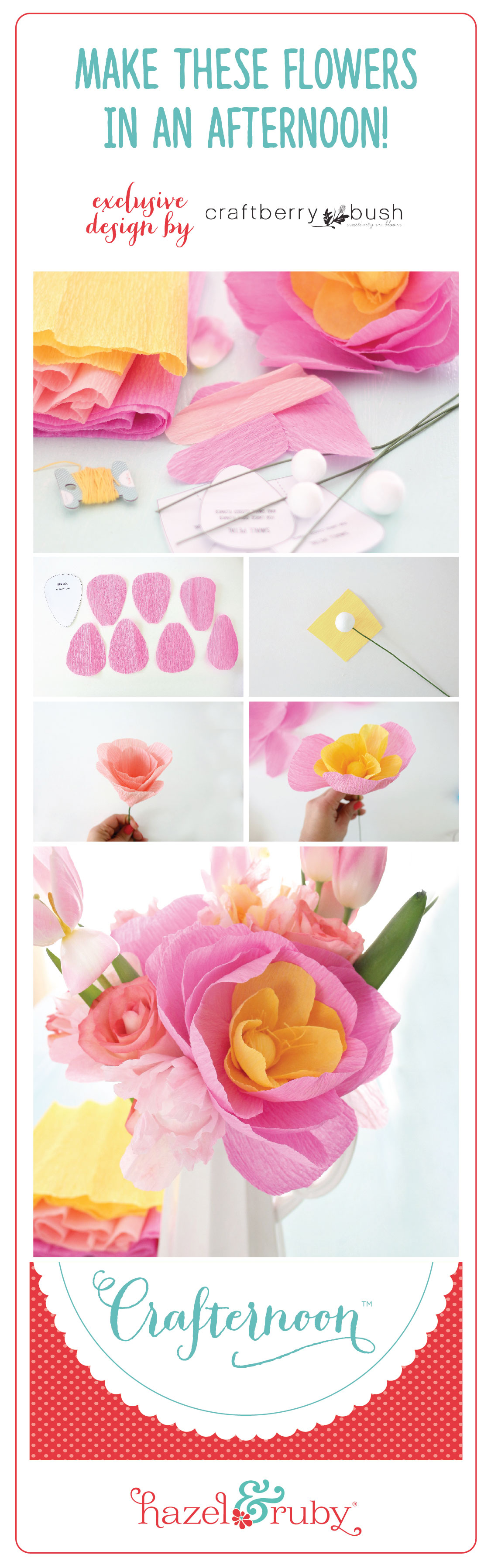 Crepe paper flower arrangement and an announcement