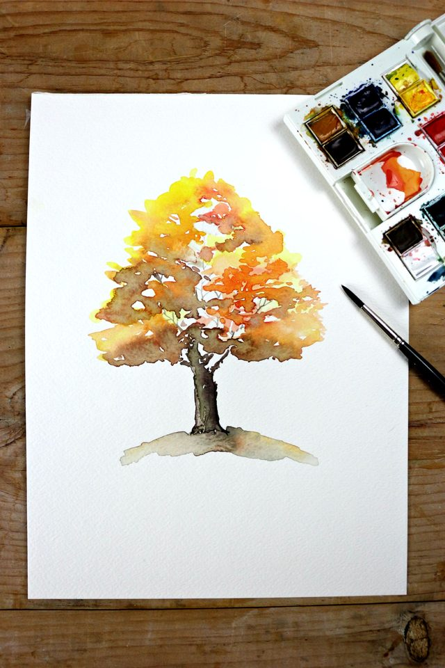 How To Watercolor Autumn Tree