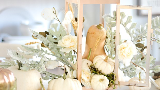 Neutral Pumpkin Centerpiece DIY