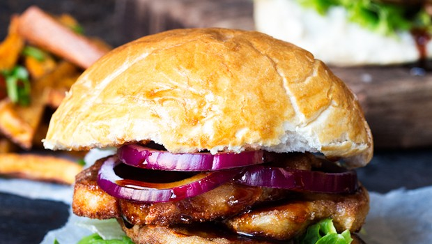 Halloumi burger with sticky chili drizzle