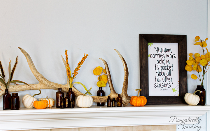 Rustic-Autumn-Mantel-with-antlers-brown-bottles-and-a-cute-free-printable-2