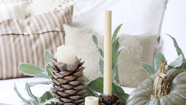 DIY Pinecone Candle Holder