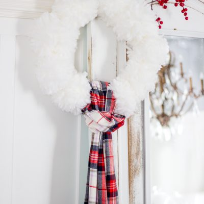 Giant pompom wreath and MERRY mag