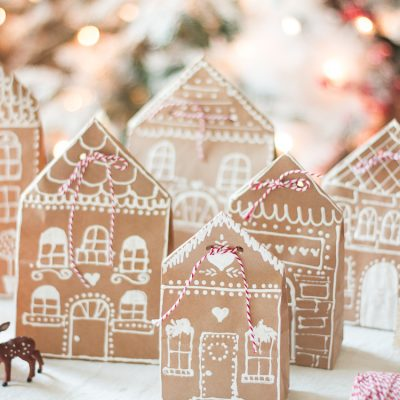 Gingerbread House Paper Bag Gift Wrap Idea
