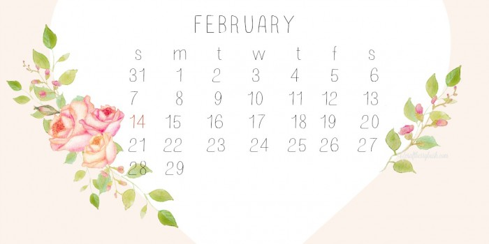Watercolor Desktop Calendar for February