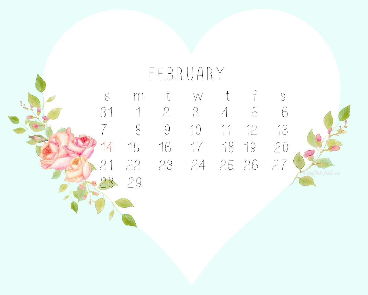 February desktopcalendarlightblue 1280x1024