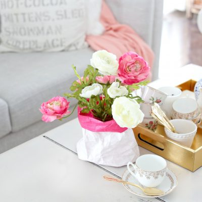 DIY Paper Sack Vase & Realistic Faux Flowers