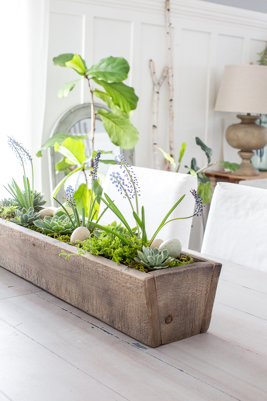 Magnolia Market wooden trough succulent centerpiece
