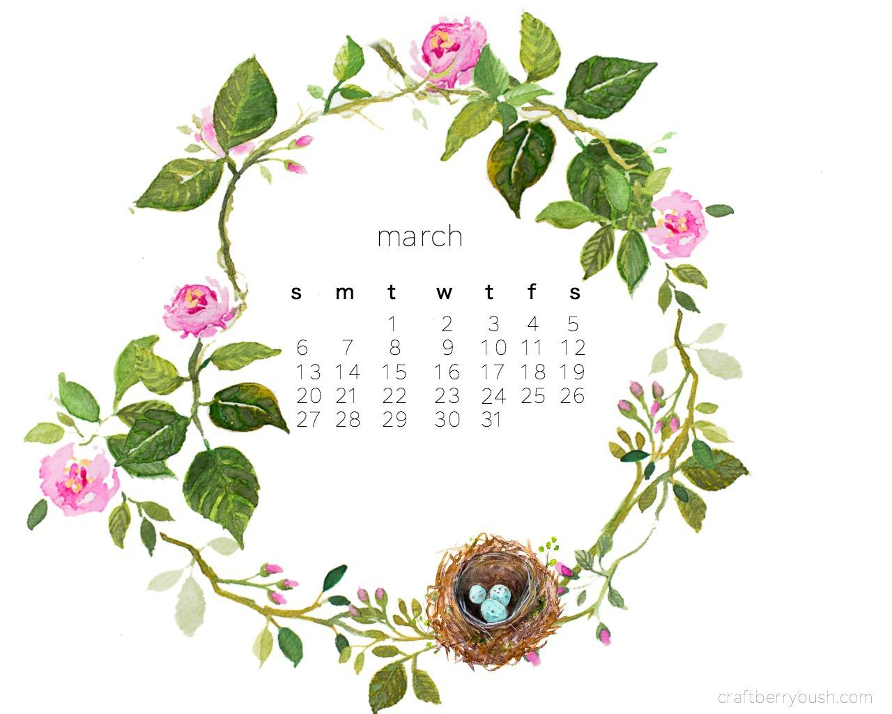 Watercolor Desktop Wallpaper Calendar : Free march desktop watercolor calendar
