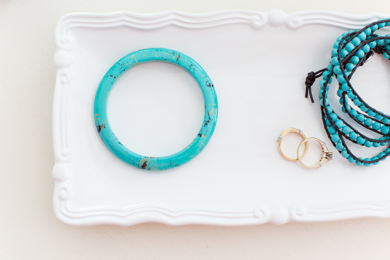 Faux turquoise painted wooden bracelet (1 of 1)