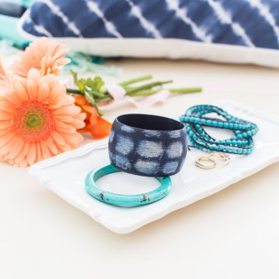 DecoArt Painted Wooden Bracelets – Faux Turquoise and Shibori Print