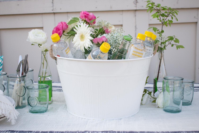 Beverage bucket floral centerpiece
