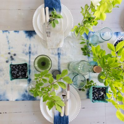 Indigo Shibori Table Runner and a Summer Tablescape