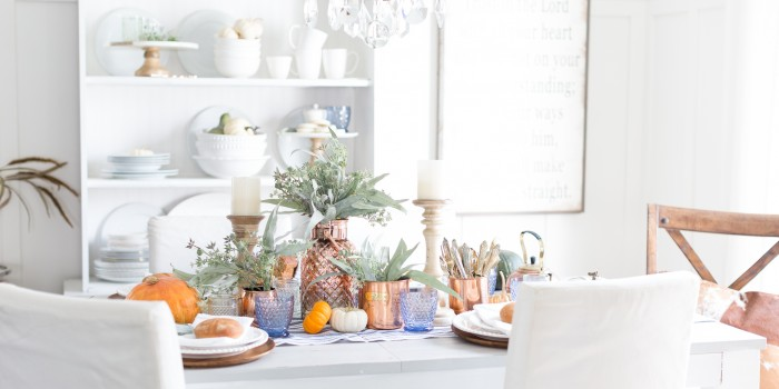 Indigo and Copper Fall Tablescape
