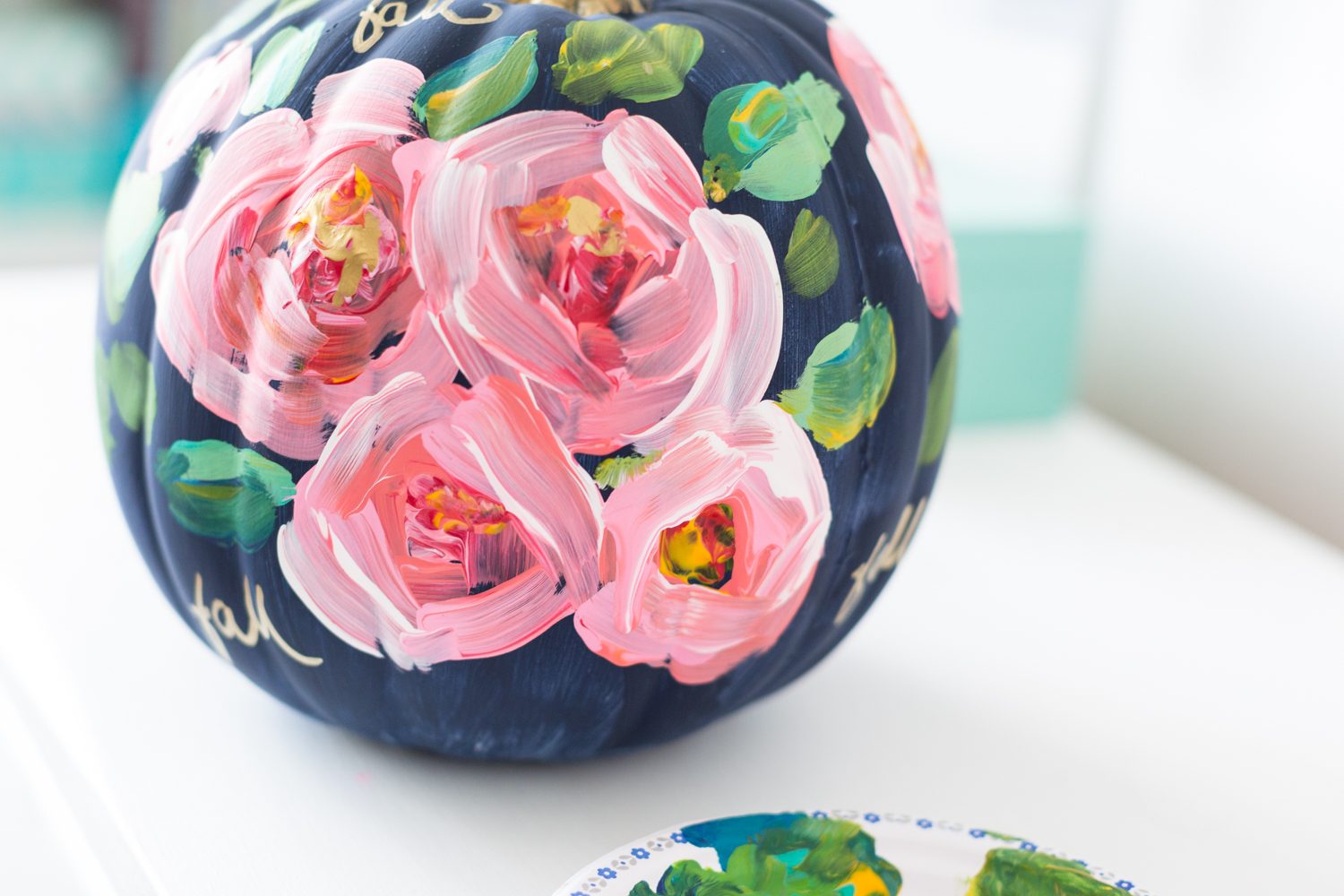 Hand painted floral pumpkin Flower painted pumpkins