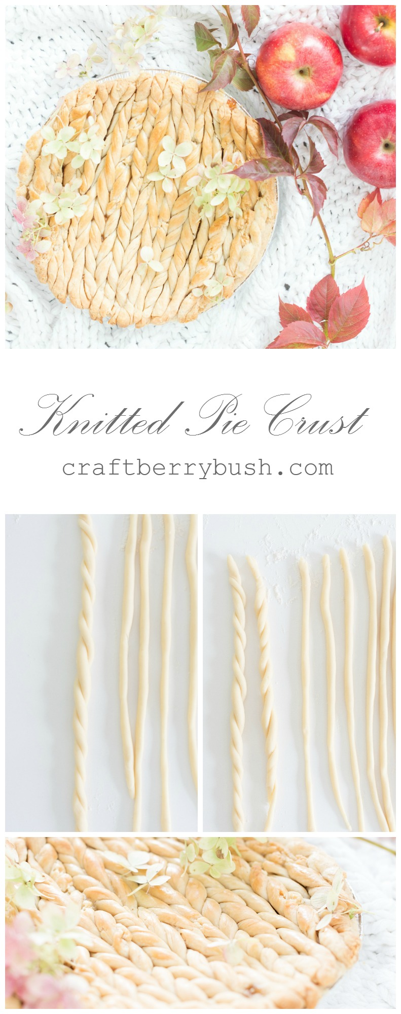 Knitted pie crust tutorial by Craftberrybush
