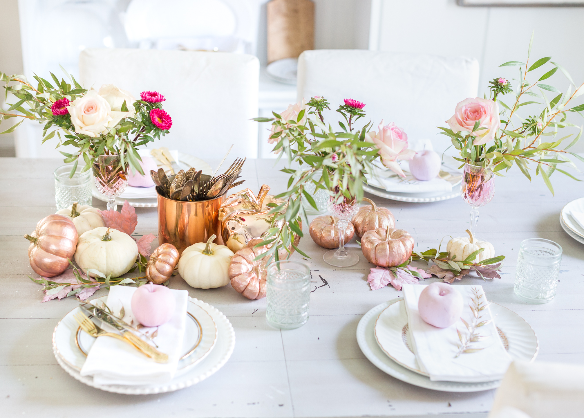 Rose Gold And Pink Tablescape