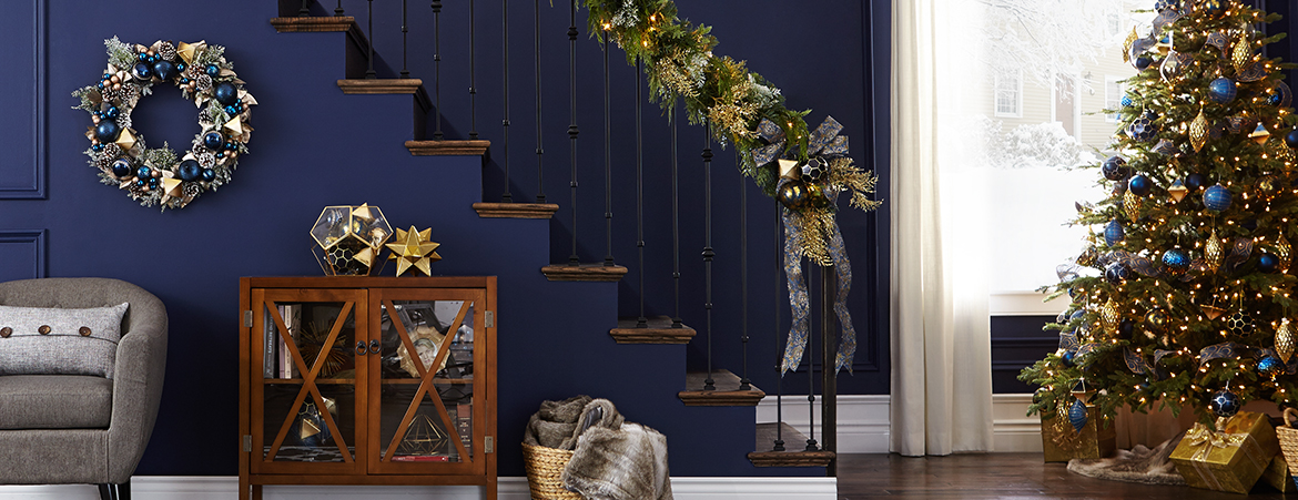Blue and Gold Christmas Decor