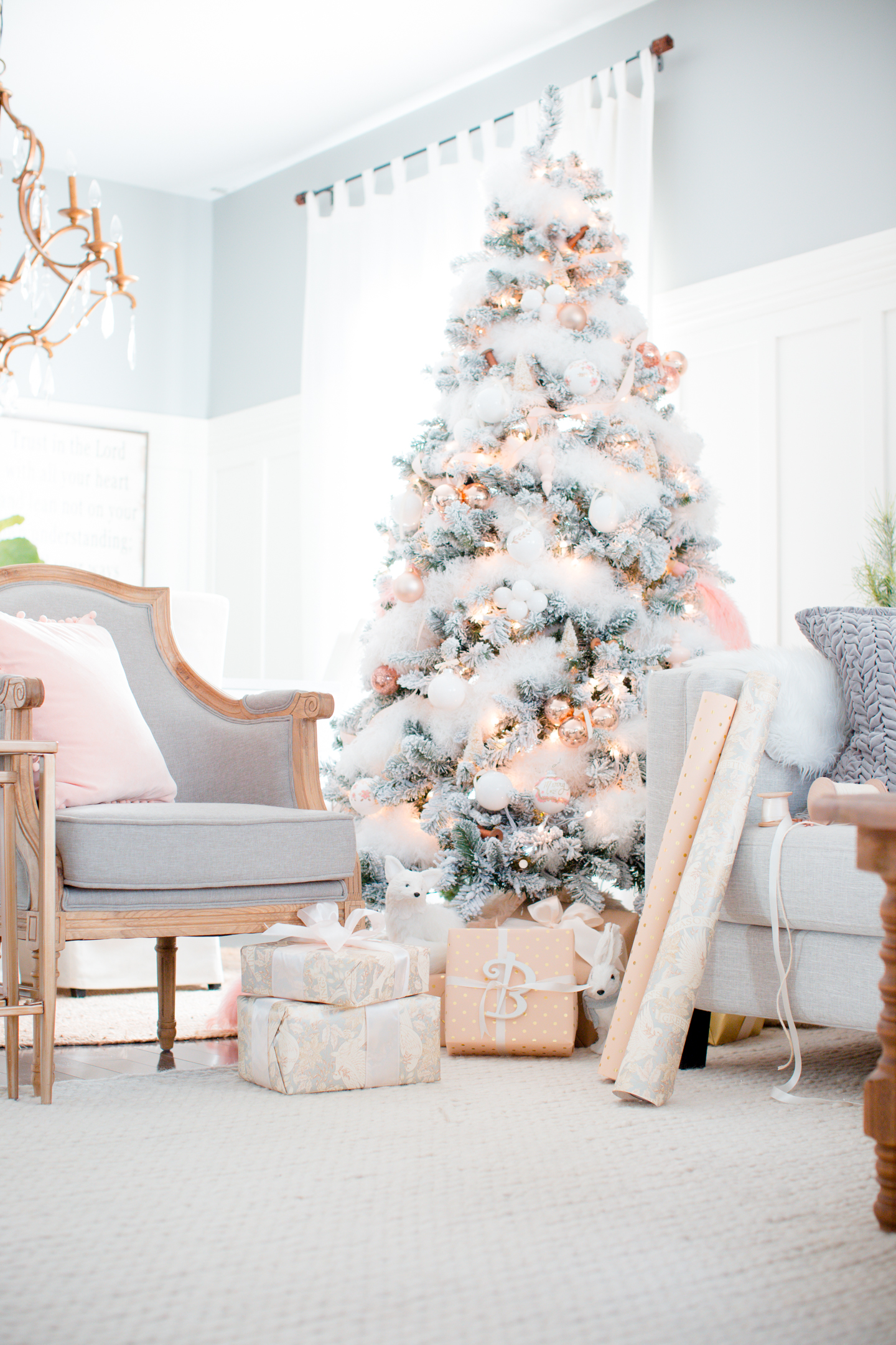 Blush and copper christmas tree for Tendance shabby chic