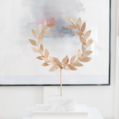 DIY Gold Laurel Wreath on Stand