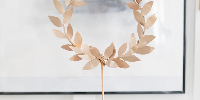 DIY Gold Laurel Wreath on Stand