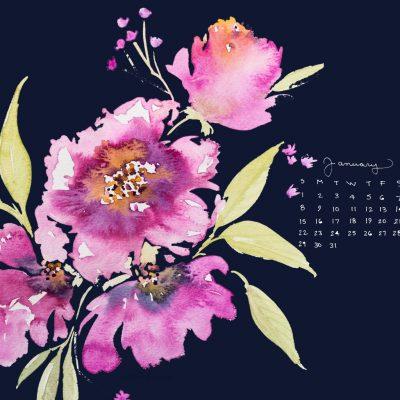 Free Desktop January Watercolor Calendar