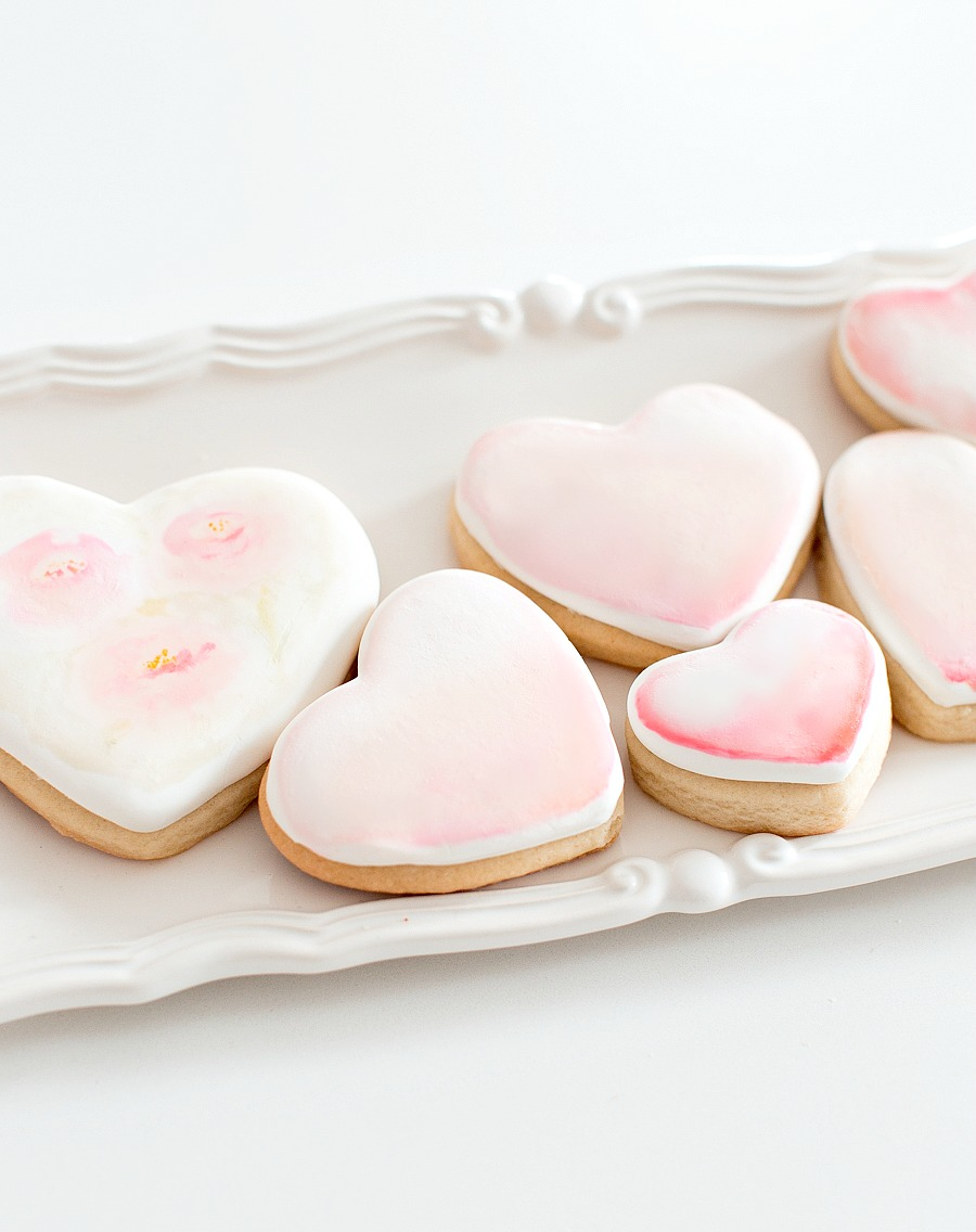 watercolor heart sugar cookies_