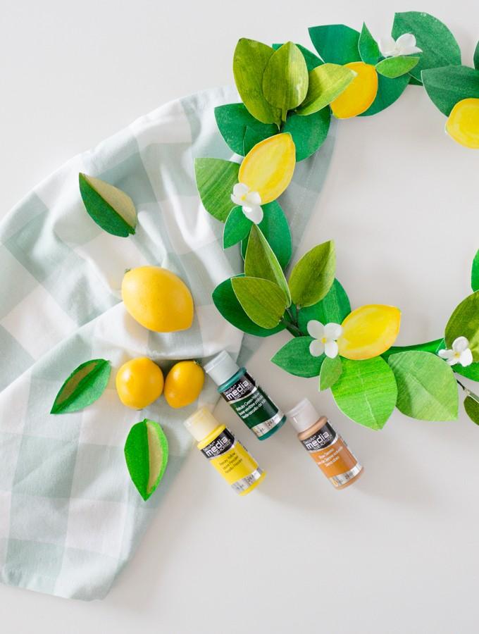 paper lemon wreath diy craftberrybush-20