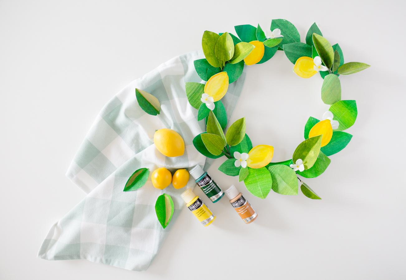 paper lemon wreath diy craftberrybush-21