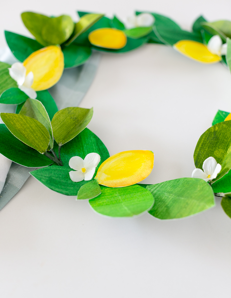 paper lemon wreath diy craftberrybush-25