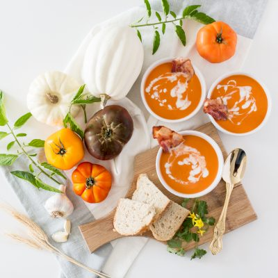 Pumpkin, Tomato and Bacon Soup
