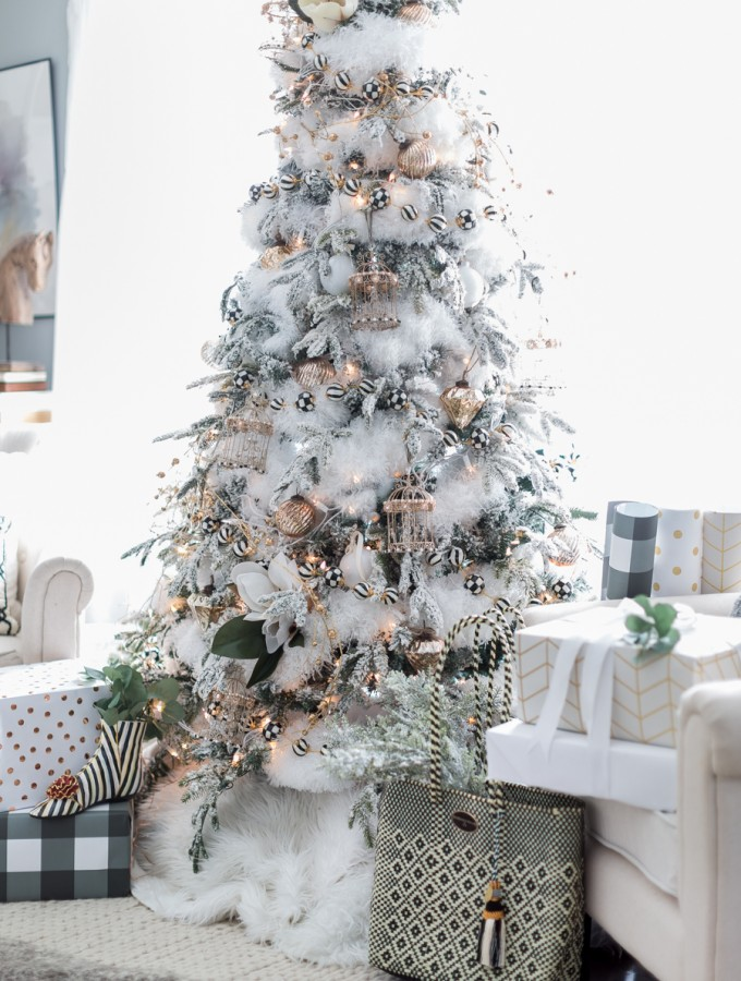black and white christmas tree craftberry bush_