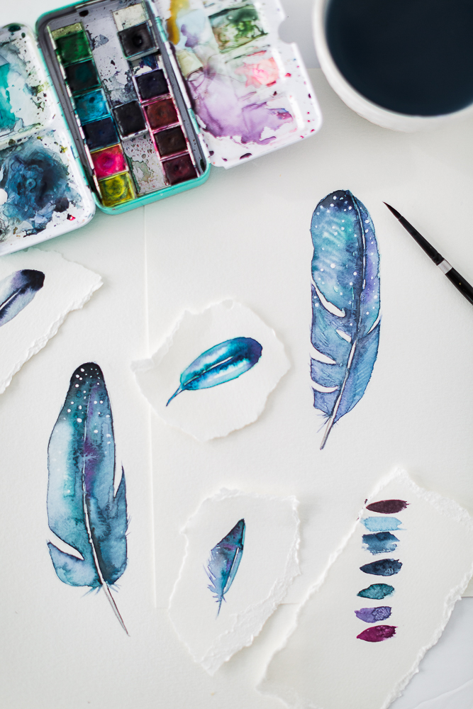 Watercolor Wednesday- How to paint a Watercolor Feather