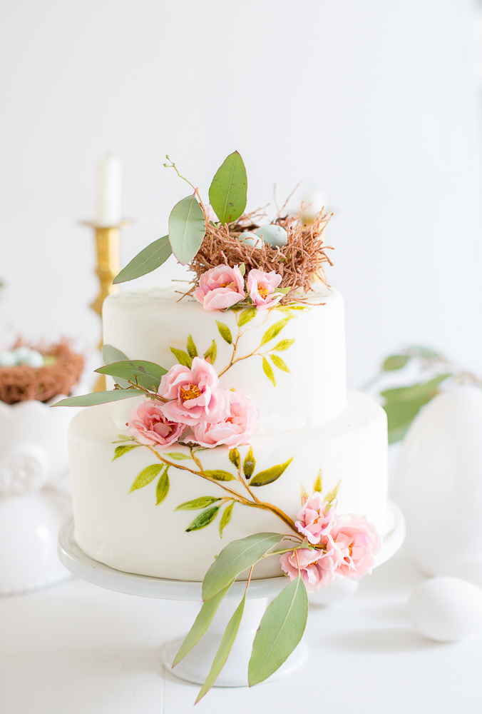 Painted Easter cake with chocolate nest